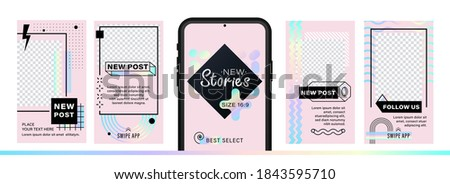 Set of abstract trendy design for stories with dispersion effect.  Editable template for social networks stories. For create trendy stories, sales, poster, new posts in memphis and hipster style.