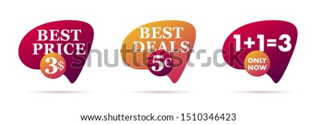Set of abstract trendy dynamic style compositions, promotion banners, discount labels, text boxes.
