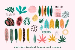 Set of abstract tropical leaves. Vector design elements.