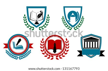 Set of abstract university or college symbols for heraldry design. Jpeg (bitmap) version also available in gallery