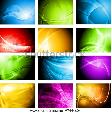 Set of abstract vector backgrounds with waves. Eps 10 design