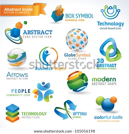 Set of abstract vector icons - stock vector