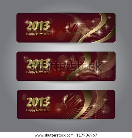 Set of abstract vector New Year headers, banners