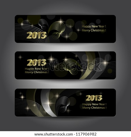 Set of abstract vector New Year headers, banners. Golden pattern on the black background