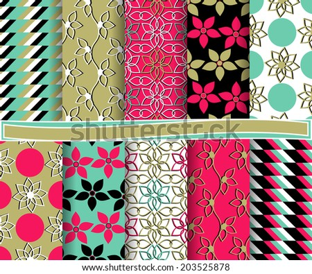 set of  abstract vector paper for scrapbook  #203525878