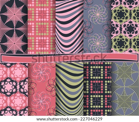 set of  abstract vector paper for scrapbook  #227046229