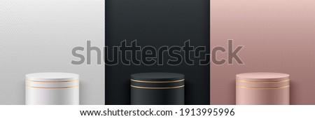 Set of abstract vector rendering 3d shape for cosmetic product display presentation. Luxury pink gold, white and black cylinder pedestal or stand podium with glitter texture wall scene background. Stock foto ©