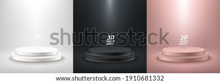 Set of abstract vector rendering 3d shape for product display presentation. Collection of luxury pinkgold ,white and black step cylinder pedestal podium. Studio room. Minimal wall scene.