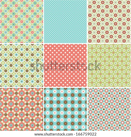 Set of abstract vector seamless patterns background with  small flowers