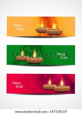 set of abstract vector web header banner designs for diwali