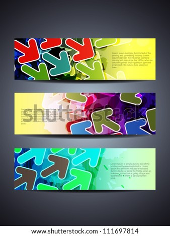 set of abstract vector web header banner designs with arrows