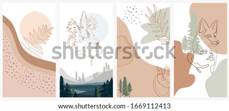 Set of abstract vertical background with forest animals, woman face, plants in one line style and abstract shapes and landscape. Background for social media minimalistic style. Vector illustration Stock photo ©
