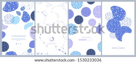 Set of abstract vertical background with Scattered stone pieces decorative texture, Terrazzo geometric design. Background for mobile app page minimalistic style. Vector illustration