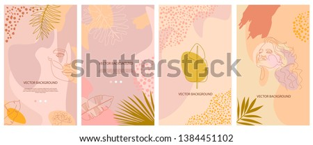 Set of abstract vertical background with tropical elements, shapes and girl portrait in one line style. Background for mobile app page minimalistic style. Vector illustration