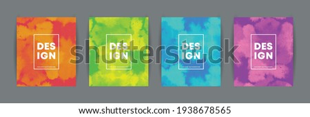 Set of abstract watercolor or dyeing effect background in 2 colors combination. Trendy colors background collection for book covers, posters, flyers, magazines or invitations. Vector illustration. ストックフォト ©