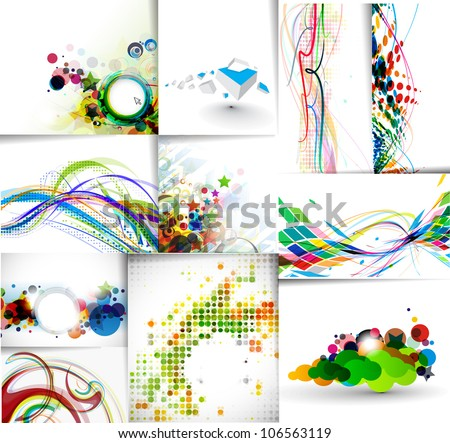 set of abstract wave line poster with space of your text.