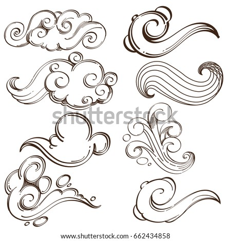 set of abstract wavy elements
