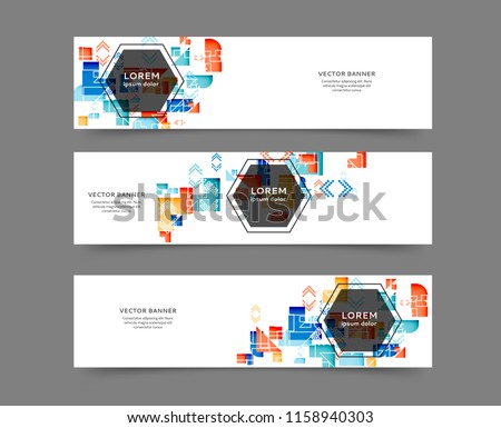 Set of abstract web banner templates with geometric elements background #1158940303