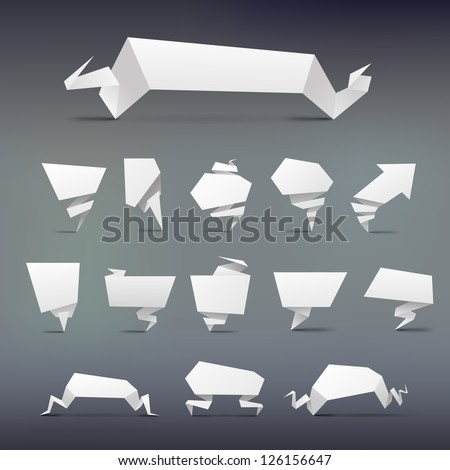 set  of Abstract white origami banners design element