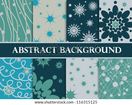 set of abstract winter seamless backgrounds - stock vector