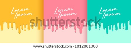 Set of abstract yellow pink and green fluid flowing drop. Minimal style. Simple flat trendy color design for presentation, flyer, brochure, website, front page, book, etc. Vector illustration Foto stock ©