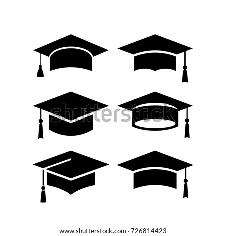 Set of academical hat vector icons isolated on white background