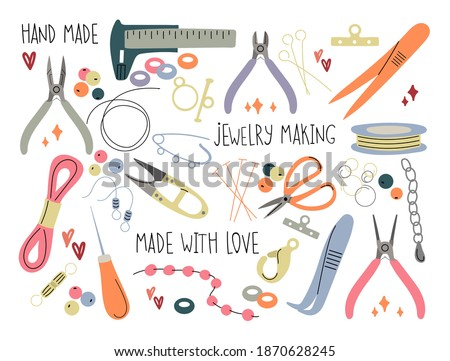 Set of accessories and tools for creating jewelry. The concept of needlework and handwork. Scissors, earrings, clasp, beads, awl, wire, fishing line, jewelry rope. Hand-drawn illustration