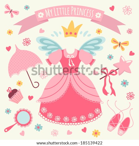 Set of accessories for Little Princess Template greeting card or invitation