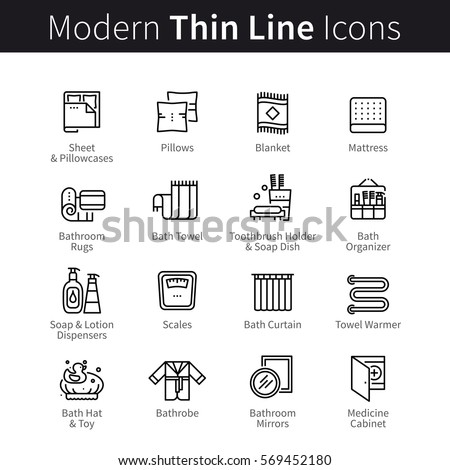 Set of accessories for sleeping and bathroom. Bath & bedding pictograms. Thin black line art icons. Linear style illustrations isolated on white.