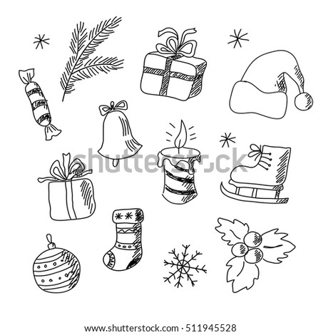 set of achristmas elements for