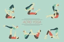 Set of acro yoga poses. Couple practicing asanas.