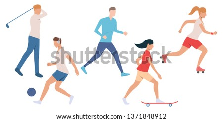Set of active people doing sport. Crowd of men and women enjoying outdoor activities. Vector illustration can be used for recreation, brochure, health