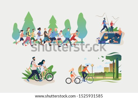 Set of active weekend illustrations. People jogging, riding bikes outdoors, hiking, fishing, enjoying picnic. Activity concept. Vector illustration for posters, banners, flyers