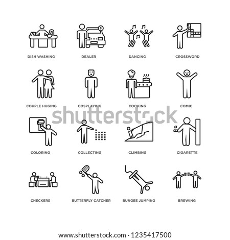 Set Of 16 Activity and Hobbies linear icons such as Brewing, Bungee jumping, Dish Washing, Checkers, Cigarette, Climbing, Collecting, Dealer, editable stroke icon pack, pixel perfect #1235417500