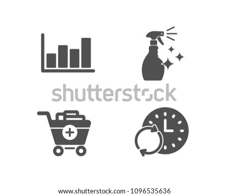 Set of Add products, Washing cleanser and Report diagram icons. Update time sign. Shopping cart, Housekeeping spray, Financial market. Refresh clock.  Quality design elements. Classic style. Vector