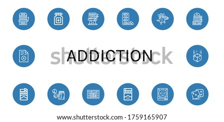 set of addiction icons such as
