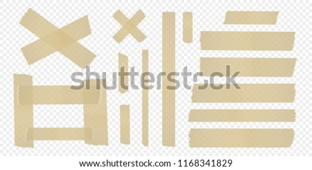 Set of adhesive tape on a separate transparent background. Vector elements for your designs. #1168341829