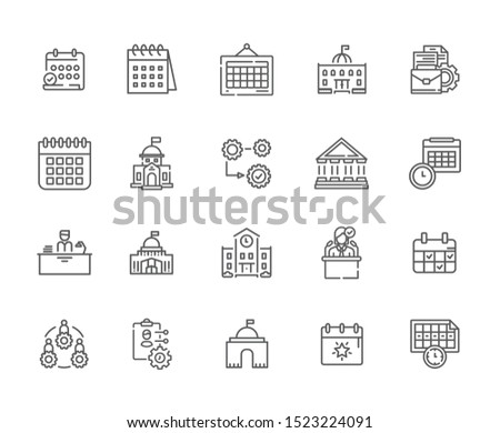 Set of administration Related Vector Line Icons. Includes such Icons as Administration building, Council, advice, assistance, Department, state, building state, working hours, calendar - vector