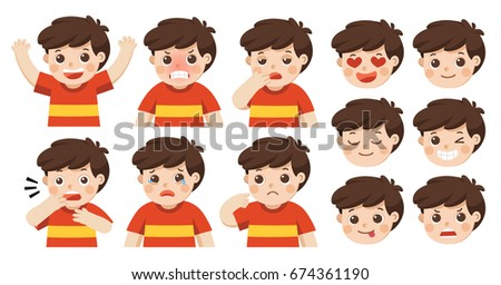 Set of Adorable Boy facial emotions. Boy face with different expressions. Schoolboy portrait avatars. Variety of emotions teen guy.