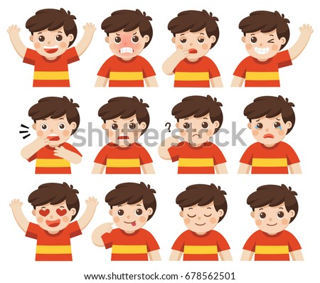 Set of Adorable Boy facial emotions. Boy face with different expressions. Schoolboy portrait avatars. Variety of emotions teen guy. Isolated vector - Shutterstock ID 678562501