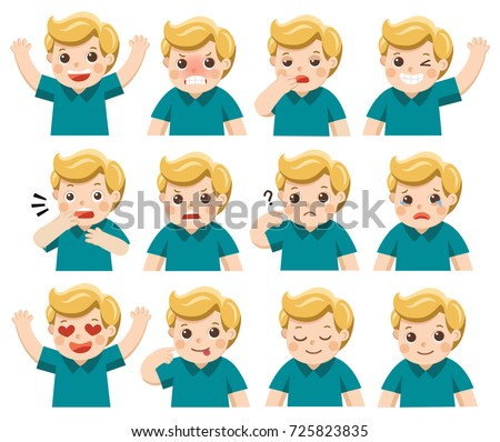 Set of Adorable Boy facial emotions. Boy face with different expressions. Schoolgirl portrait avatars. Variety of emotions