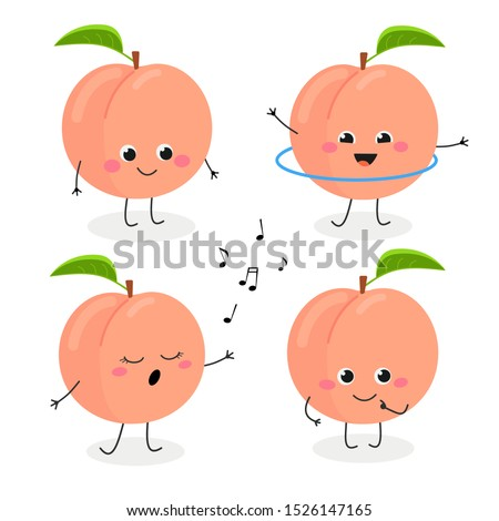 Set of adorable cartoon peach mascot in flat style. Vector illustration isolated on white background