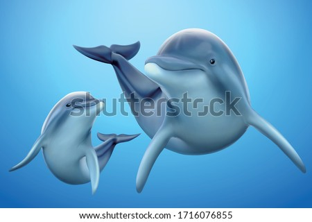 set of adorable dolphin family