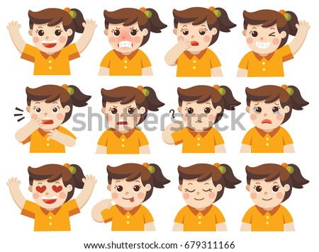Set of Adorable Girl facial emotions. Girl face with different expressions. Schoolgirl portrait avatars. Variety of emotions