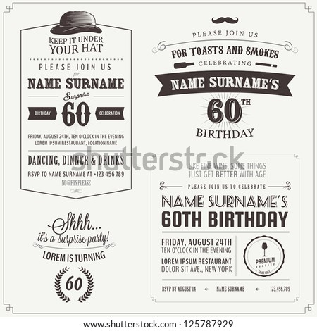 Set of adult birthday invitation vintage typographic design elements