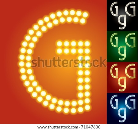 Set of advanced led alphabet with transparency. Character g