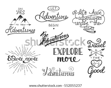 set of adventure and travel