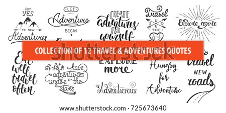 set of adventure and travel...