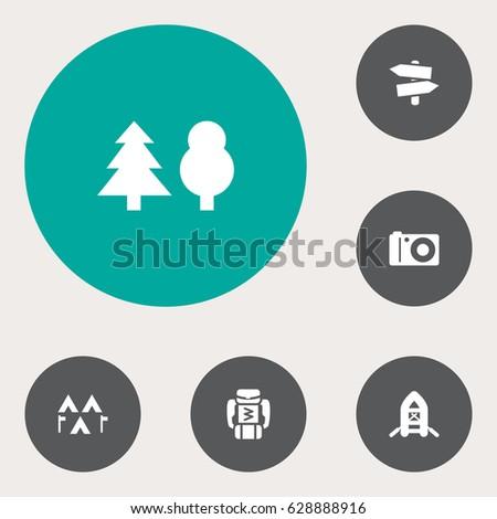 set of 6 adventure icons set