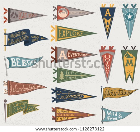 Set of adventure, outdoors, camping colorful pennants. Retro labels on textured background. Hand drawn wanderlust style. Pennant travel flags design Stockfoto ©
